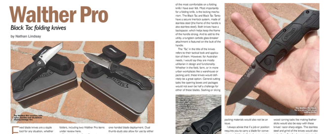 Walther Pro Black Tac folding knives review in Australian Hunter magazine